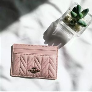 Coach Card Case Pink Quilted